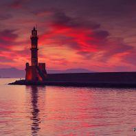 Ханья, маяк на закате