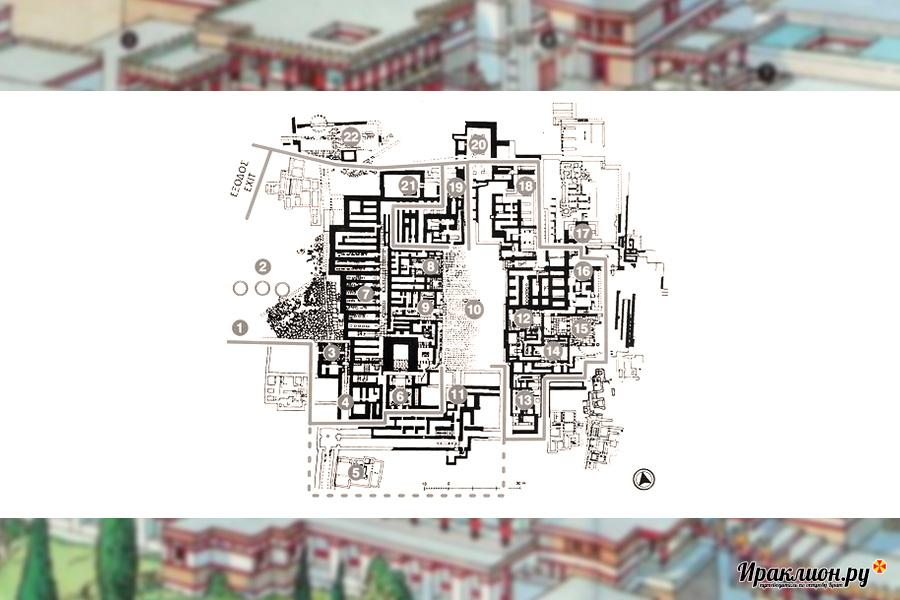 План Кносского дворца царя Миноса, Крит, Греция
