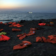 Lifejackets are seen abandoned by Syrian refugees on a beach after they crossed the Aegean Sea in a dinghy from Turkey to the Greek island of Kos (Yannis Behrakis/Reuters)